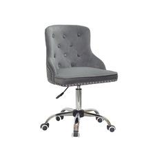 Стул офисный theXATA-2021 Olimp 13197 серый бархат на хромированых ножках с колесиками