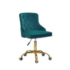 Стул офисный theXATA-2021 Olimp o001 зеленый бархат на золотых ножках с колесиками