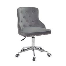 Стул офисный theXATA-2021 Olimp 13290 серый бархат на хромированых ножках с колесиками