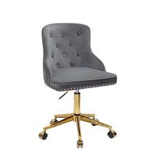Стул офисный theXATA-2021 Olimp 13558 серый бархат на золотых ножках с колесиками