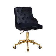 Стул офисный theXATA-2021 Olimp 13558 черный бархат на золотых ножках с колесиками