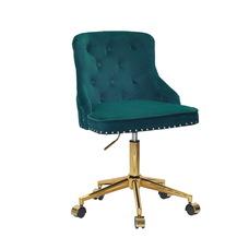 Стул офисный theXATA-2021 Olimp 13559 зеленый бархат на золотых ножках с колесиками