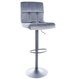 Барный стул C105 VELVET черный каркас / СЕРЫЙ Signal