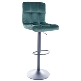 Барный стул C105 VELVET черный каркас / ЗЕЛЕНЫЙ Signal