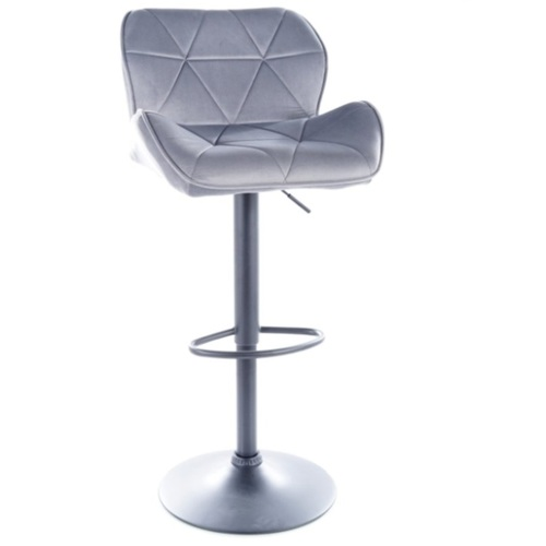 Барный стул C122 VELVET черный каркас / СЕРЫЙ Signal