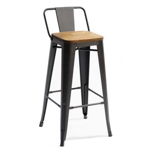 Кресло полубарное Tolix MC-011К черное+дерево Primel