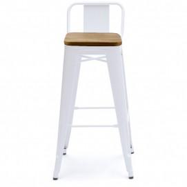 Кресло барное Tolix MC-012К белое+дерево Primel