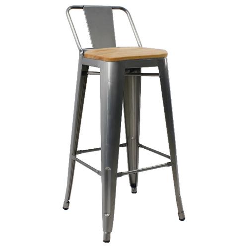 Кресло барное Tolix MC-012К сталь+темный орех Primel