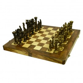 Деревянные шахматы с латунными фигурами (фа-шл-04)