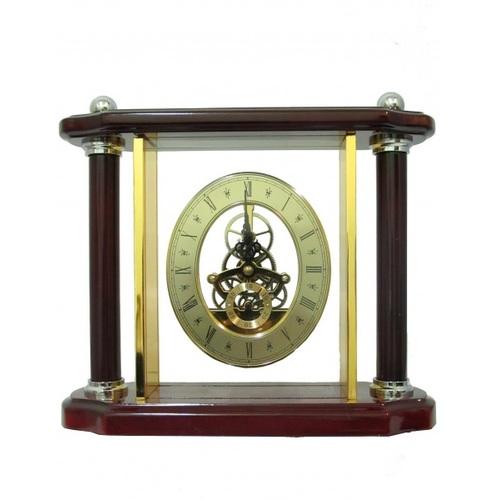 Канцелярские принадлежности: прозрачные часы в золоте и дереве (фа-кп-62)