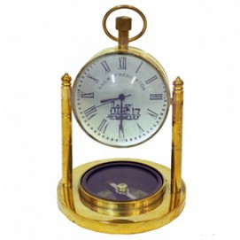 Часы латунные с компасом в увеличительном стекле (фа-чл-19)