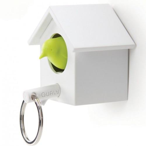 Ключница настенная и брелок для ключей Cuckoo Qualy бело-зелёный
