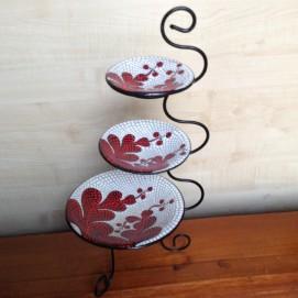 Конфетница (3 тарелки), 45 см бело-красная Etnoxata 51008