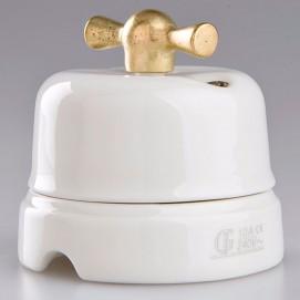 Выключатель поворотный проходной Classic Gold фарфор Gi Gambarelli