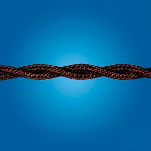 Электрический кабель плетёный mm 2×0.50 (коричневый, шёлк)