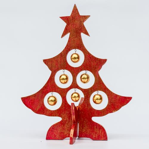Ёлка красная с золотыми шарами 30 см Etnoxata