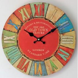 Часы настенные Old Town Ø 35 см цветные Clok