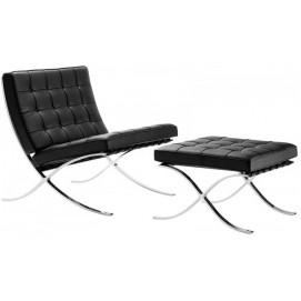 Кресло BARCELONA с оттоманкой 22 чёрный Ganesha