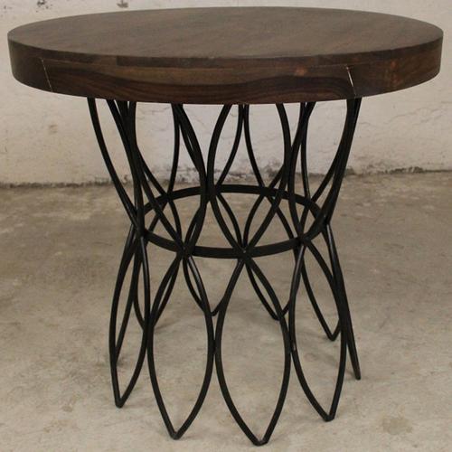 Стол круглый IRON BASE TABLE LOFT 76×80×80 cм коричневый Ganesha