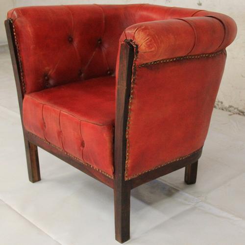 Кресло WOODEN CANVAS-LEATHER FTD. красное 42-81×63×74 кожа