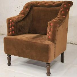 Кресло WOODEN VALVATE FTD. бархат 80×70×80 коричневое