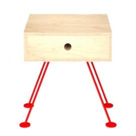 Тумба прикроватная H101 натуральная ноги красные Craftmart