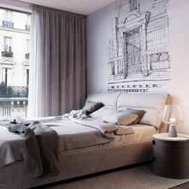 Дизайнерские обои Вид из окна. Paris Olga Bogdanova  влагостойкие ширина 1.3м TheОбои