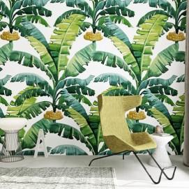 Дизайнерские обои Банановые листья  влагостойкие ширина 1.3м TheОбои