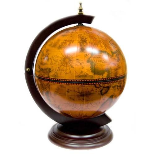 Глобус бар с подставкой под CD (38х33х8 см)(JG33002R-C) коричневый