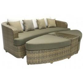 Комплект для отдыха диван и 2 оттоманки, столик со стеклом VH013