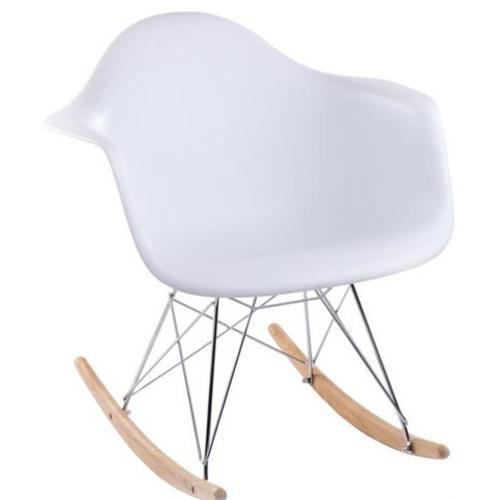 Кресло качалка  Forum RAR inspirowane HOME Design белое ноги дерево/металл
