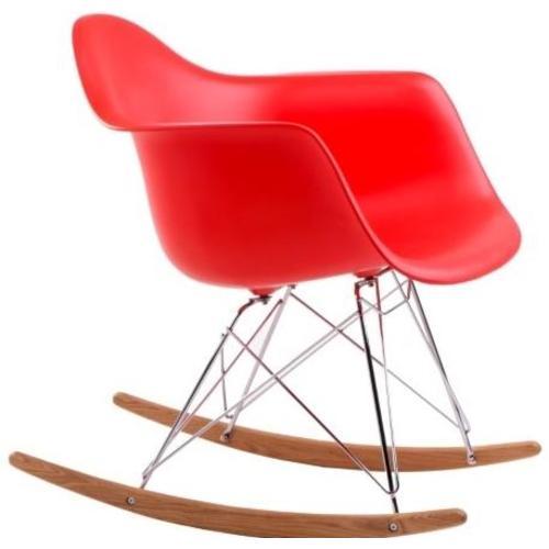 Кресло качалка  Forum RAR inspirowane 3451 HOME Design красное ноги дерево/металл