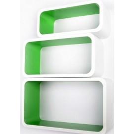 Набор полок Cube white/green, zestaw 3 szt. (VGL_LO88-BZ) HOME Design