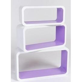 Набор полок Cube white/violet, zestaw 3 szt. (VGL_LO88-BA) HOME Design