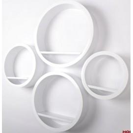 Набор полок Round - okrągłe białe, zestaw 4 szt. (VGL_LA01-B) HOME Design