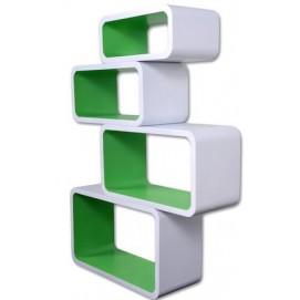 Набор полок Cube white/green, zestaw 4 szt. (VGL_LO01-BZ HOME Design