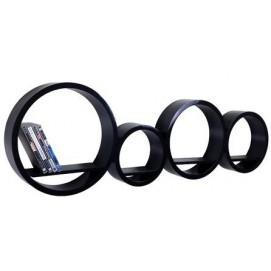 Набор полок Round - okrągłe czarne, zestaw 4 szt. (VGL_LA01-J) HOME Design