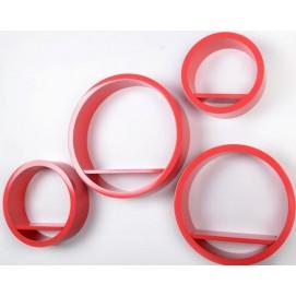 Набор полок Round - okrągłe czerwone, zestaw 4 szt. (VGL_LA01-R) HOME Design