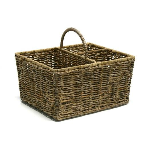 Корзинка для бутылок  Home4You JAWA 30x25xH16cm, rattan, color: antique brown