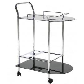 Сервировочная тележка Home4You ARIA 65x39xH80cm, 5мм каленное стекло, цвет: черный, хромированный стальной каркас