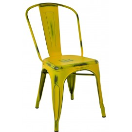 Стул Tolix антик желтый спинка прямая матовый