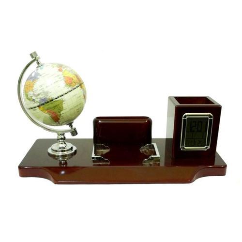 Канцелярские принадлежности: подставка с глобусом под ручки, визитки с электронными часами и термометром (кп-59)