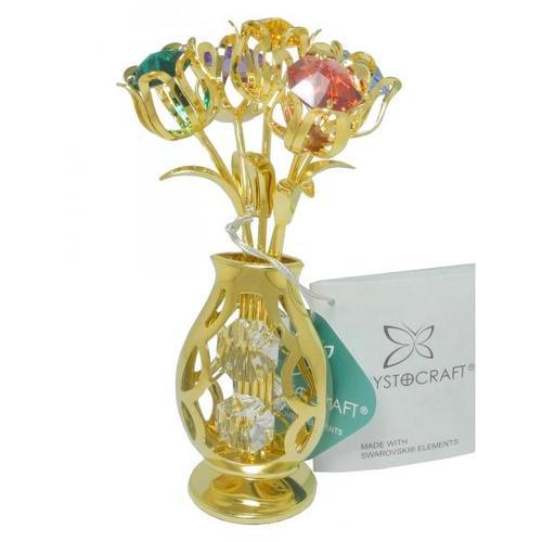 """Статуэтка с кристаллами Swarovski """"Цветы в вазе"""" (ис-11)"""