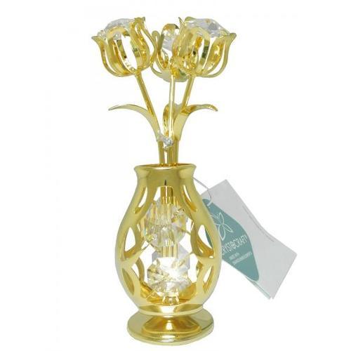 """Статуэтка с кристаллами Swarovski """"Цветы в вазе"""" (ис-09-01)"""