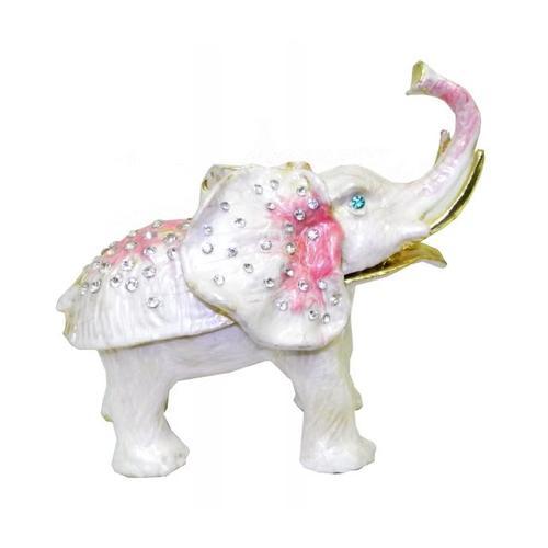 Золотые фигурки: слон белый с розовым (жз-40)