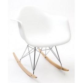 Кресло качалка SWING белая ноги металл/дерево