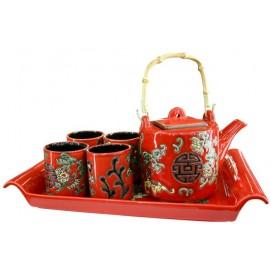 Чайный сервис с подносом , 6 предметов, керамика 29795 Evelek