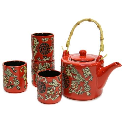 Чайный сервис YANG, 5 предметов, красная керамика 29796 Evelek