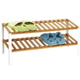 Полка для обуви NERO, 68x30.5xH33.5см, полки из бамбука/ножки из металла, цвет белый матовый 7067 Evelek