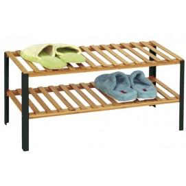 Полка для обуви NERO, 68x30.5xH33.5см, полки из бамбука/ножки из металла, цвет чёрный матовый 70671 Evelek